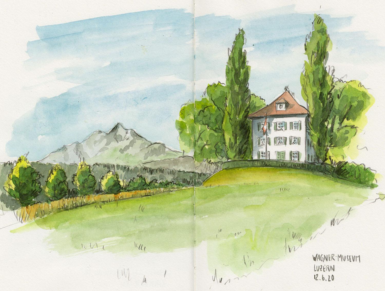 Sonntag, 28. Juni 2020, Sketchrawl im Park beim Wagner Museum, Luzern