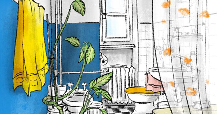 Zeichnen im Badezimmer